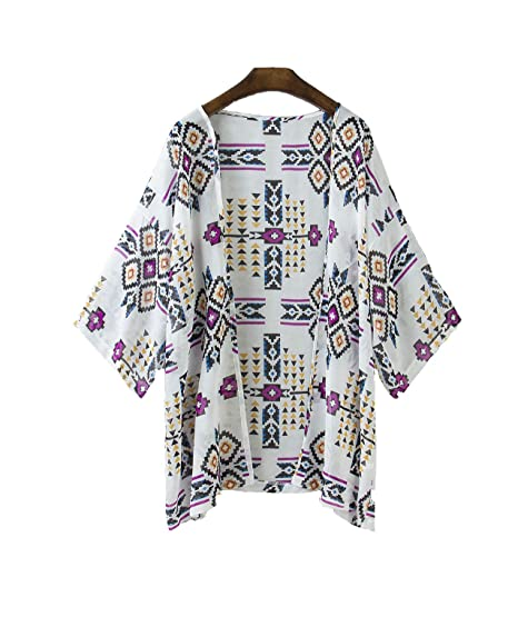 716a476aae80 Vintage Women Floral Print Long Loose Kimono Cardigan Blouses Beach Cover Up  at Amazon Women s Clothing store