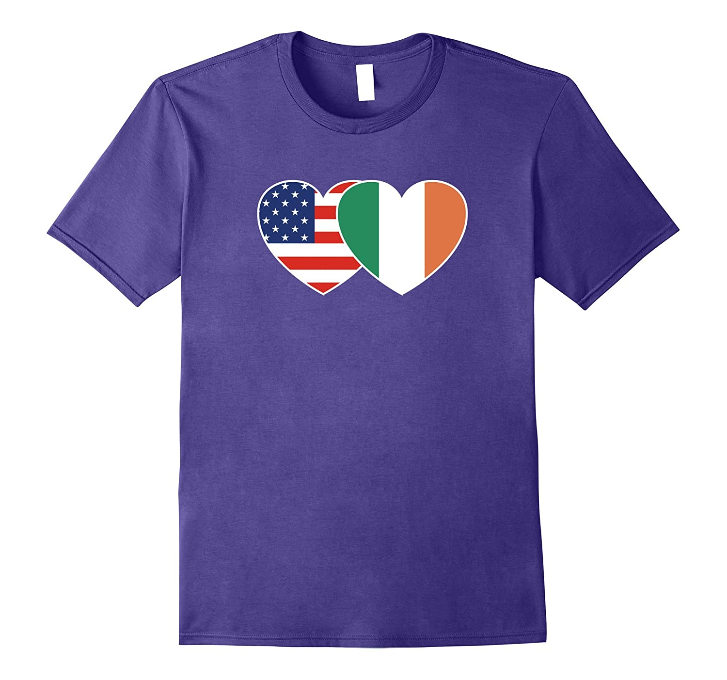 Ireland USA Flag Twin Heart T Shirt for Irish Americans-CD