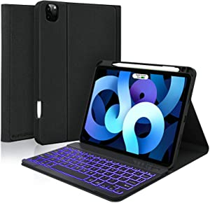 iPad Keyboard Case Air 4th Generation 2020, iPad Pro 11 1st/2nd Gen 2018/2020, 10.9 inch Case and Keyboard with Pencil Holder, Backlit Detachable BT Keyboard, Leather Folio Cover, Tablet Case(Black)