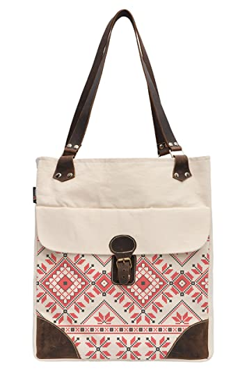 Logical Knitting Pattern Printed Canvas Leather Handle Shoulder Bags