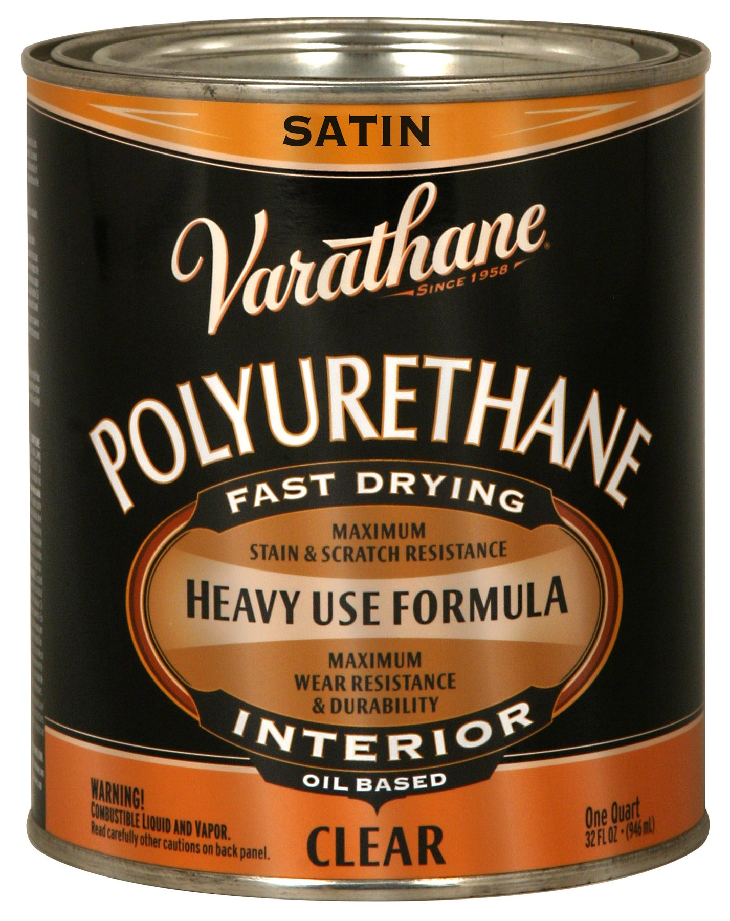 Rust-Oleum Varathane 9141H 1-Quart Interior Oil Polyurethane, Satin Finish