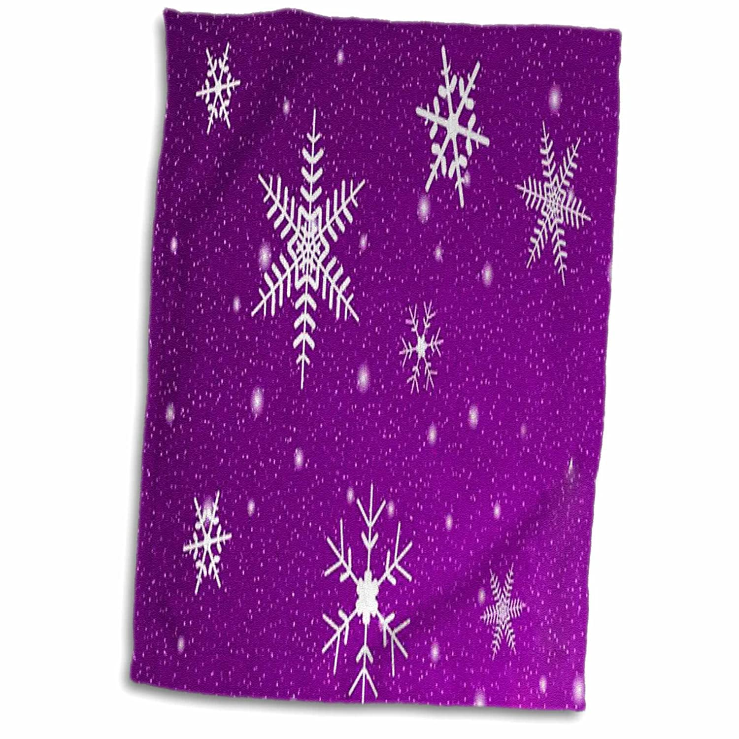 3D Rose Snowflakes with Purple Background Towel 15 x 22