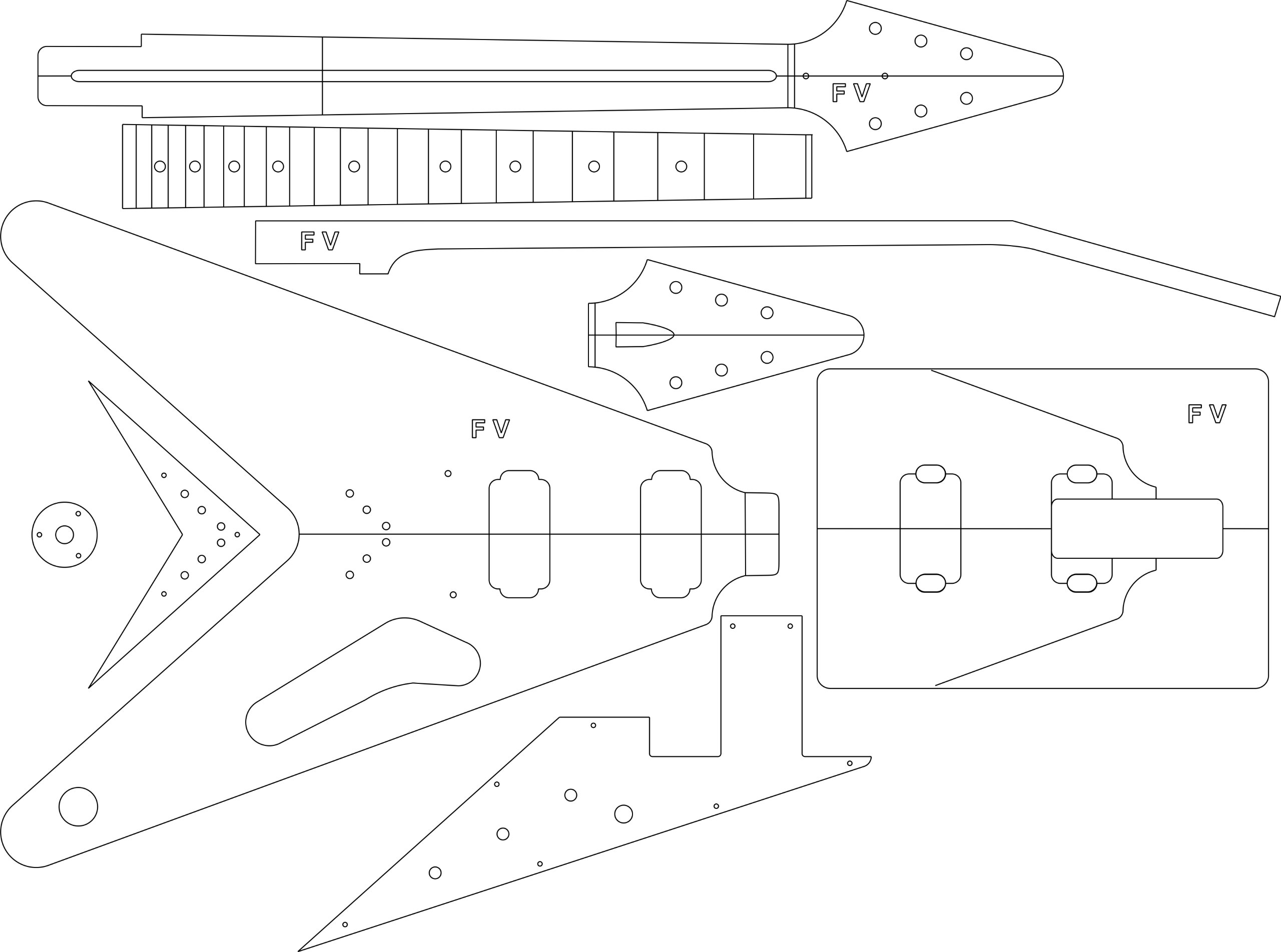 Electric Guitar Layout Template - '58 V