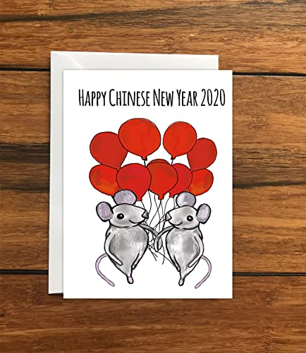 happy chinese new year 2020 year of the rat greeting card a6 amazon co uk handmade happy chinese new year 2020 year of the
