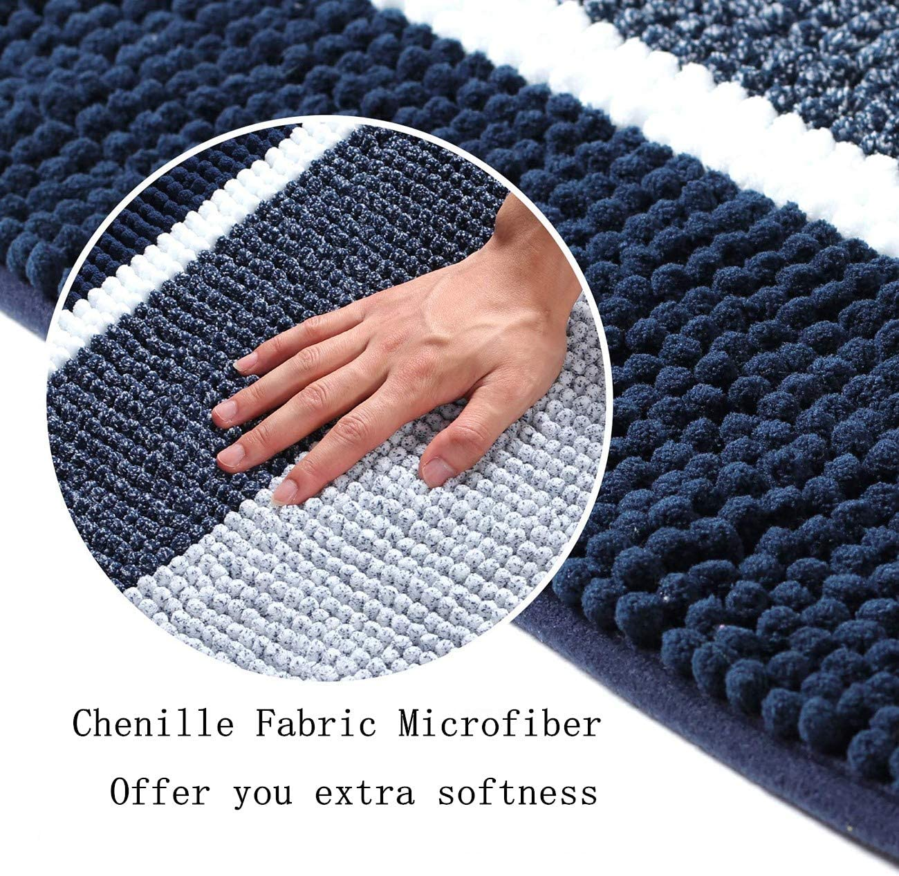 Navy Machine Washable Plush Mats for Bathroom Xuanmuque Shaggy Striped Chenille 2 Piece Bath Rugs Set Includes 20x20 Oval U-Shape Contoured Mat for Toilet and 32x20 Carpet Rugs