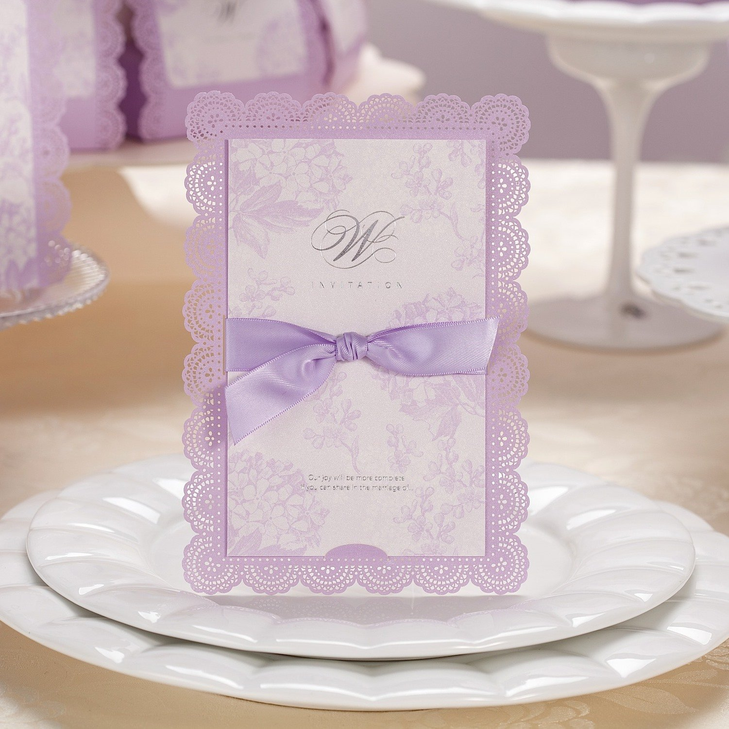 Wishmade Elegant Purple Laser Cut Wedding Invitations Cards Bridal Shower Invitations Greeting Cards CW003 (50 pcs)