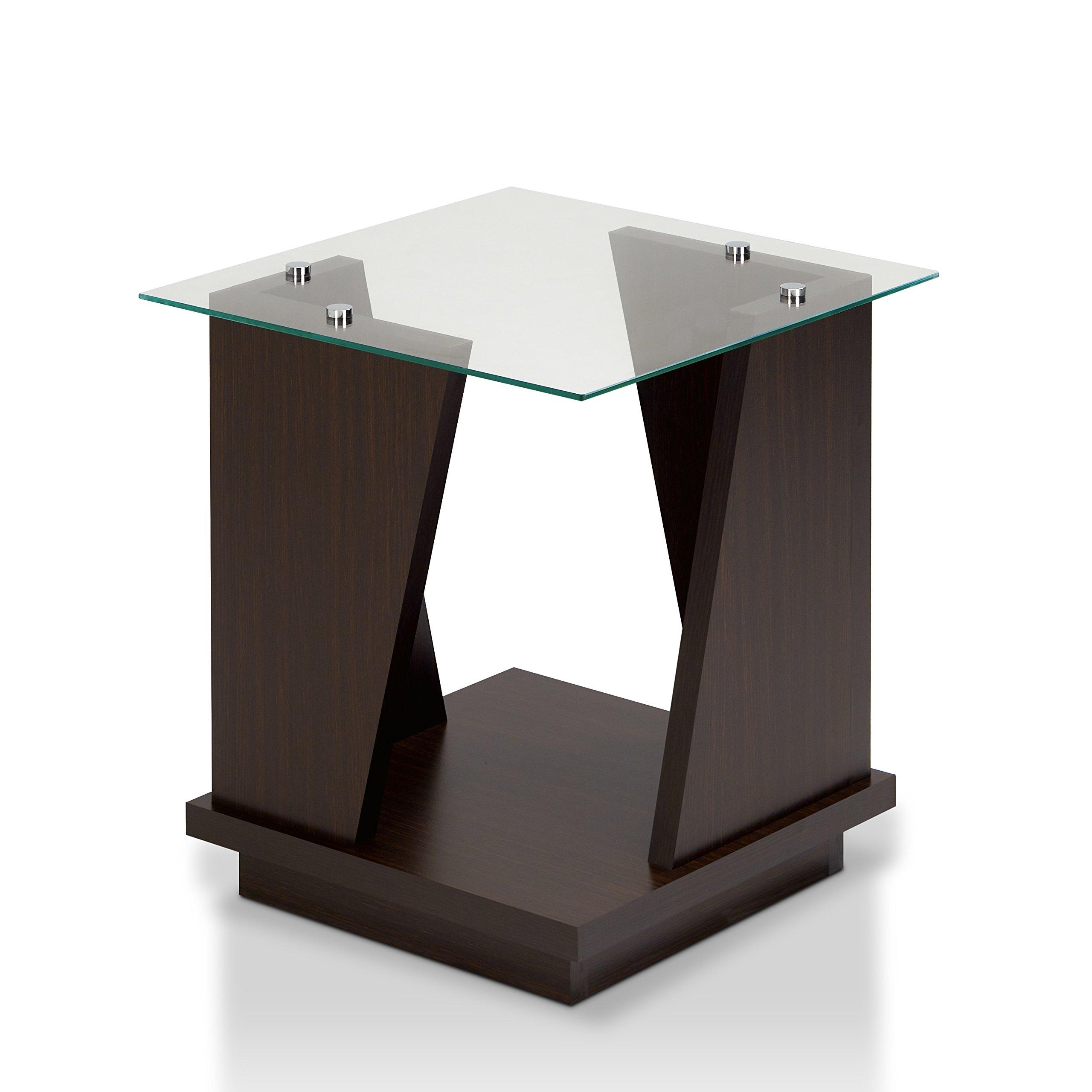 Furniture of America Selema Glass Top End Table Walnut