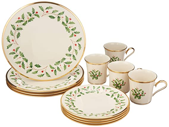 Lenox 6122048 Holiday 12-Piece Dinnerware Set best christmas plate sets