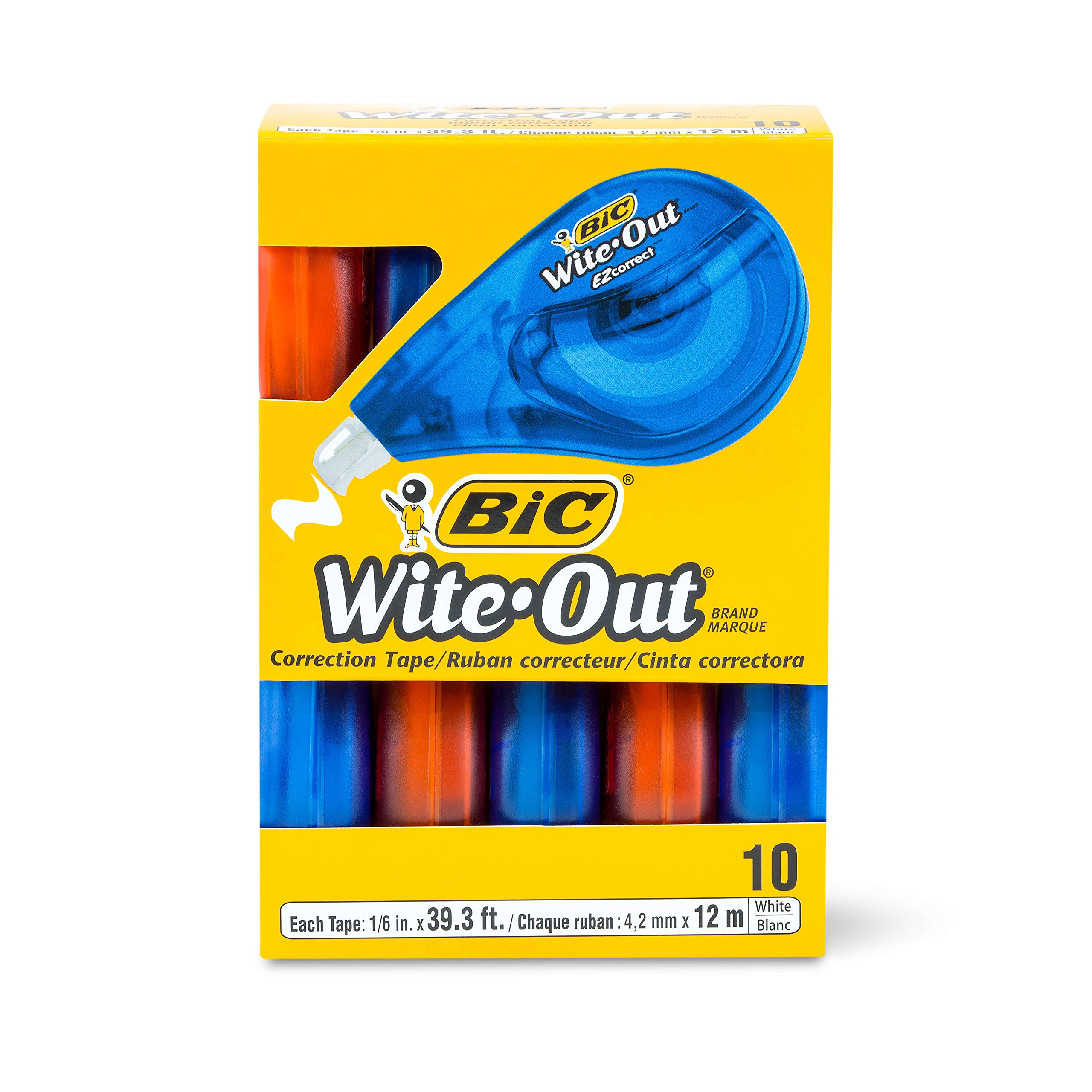 BIC Wite-Out Brand EZ Correct Correction Tape, 10-Count, White (6 Pack)