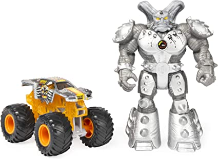 Amazon Com Monster Jam Official Max D 1 64 Scale Monster Truck And 5 Inch Maximus Creatures Action Figure Set Toys Games