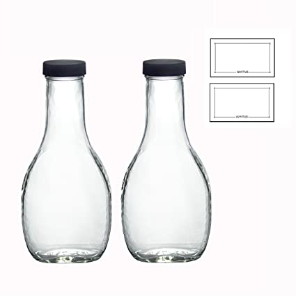 cb165d37af0d 8 oz Clear Glass Thick Wall Salad Dressing Bottle (2 Pack) + Labels for  dressings, sauces, and marinaras