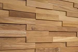 WoodyWalls 3D Wall Panels   Wood Planks are Made from 100% Teak   Each Wood Panel is Handmade and Unique   Premium Set of 10 3D Wall Decor Panels   DIY Wood Panels (9.5 sq.ft. per Box) Natural Teak