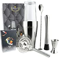 Cocktail Making Set with Boston Cocktail Shaker Ideal for Home or Bar by Grand. Included with This 6-Piece Barware Kit are 50 Cocktail Recipes Cards to Enjoy Using Your Cocktail Mixing Kit.
