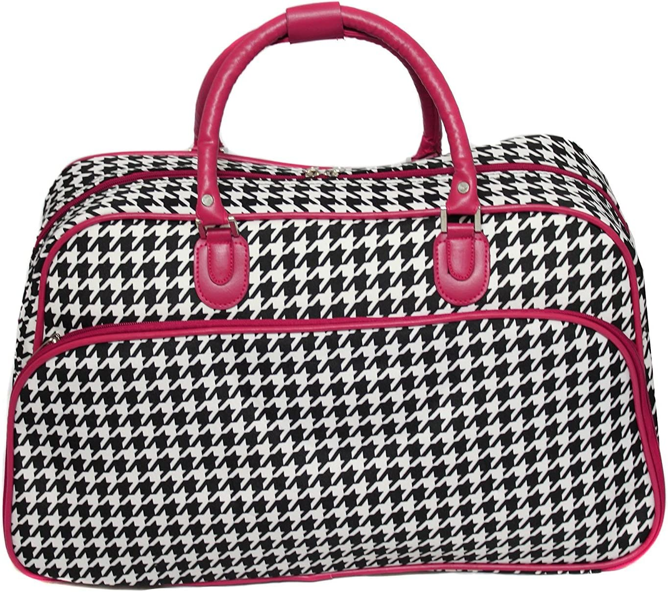 21 Pink Trim Lightweight Duffel Bag Polyester Foldable Houndstooth