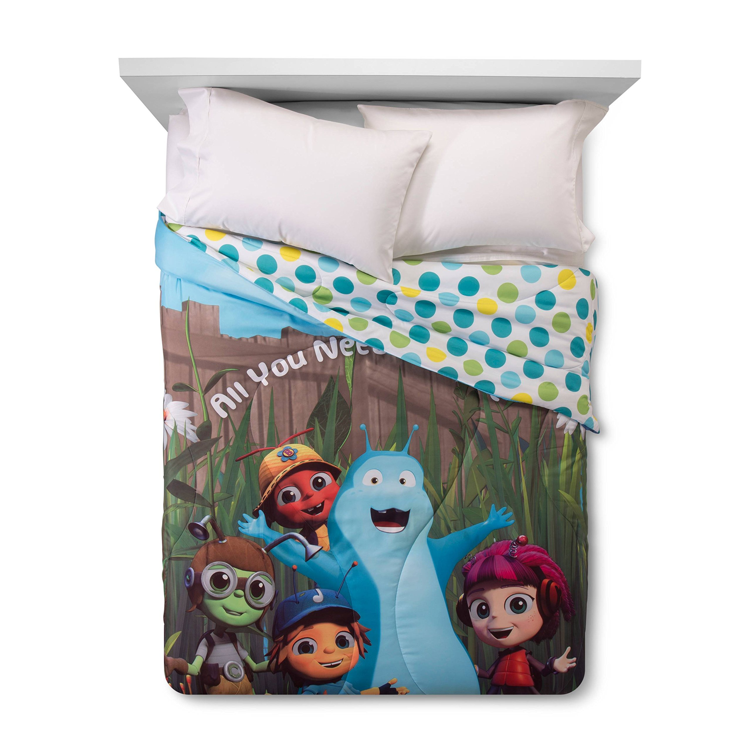 Beat Bugs ''All You Need is Love'' Reversible Blue & Green (Full) Comforter & 4 Piece Full Sheet Set & beat bugs Record Pillow