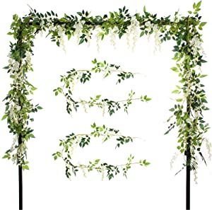 Felice Arts 2 PCS 6.6FT/Piece Artificial Silk Wisteria Flowers Ivy Vine Green Leaf Hanging Vine Garland for Wedding Party Home Garden Wall Decoration (2 Pcs Cream)