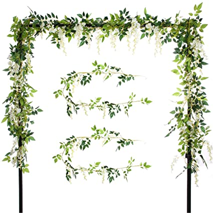Efivs Arts 2 Pcs Artificial Flowers 2 0M Silk Wisteria Ivy Vine Green Leaf  Hanging Vine Garland for Wedding Party Home Garden Wall Decoration, Cream
