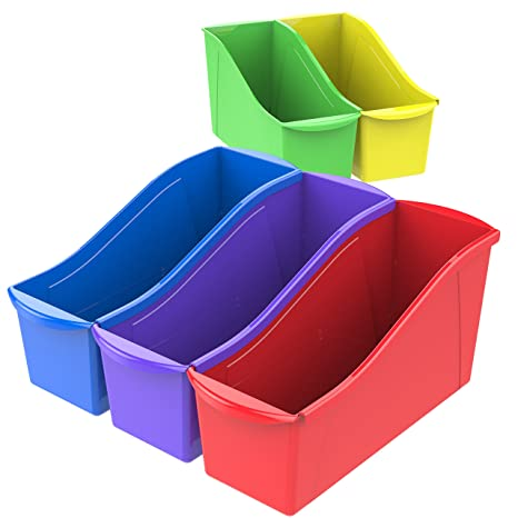 Storex Large Book Bins, 14 3 x 5 3 x 7 1 Inches, Assorted Colors, 30-Pack