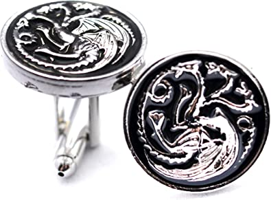 Par de gemelos redondos con esmaltado negro, diseño de dragón de tres cabezas de la serie Game Of Thrones: Amazon.es: Joyería
