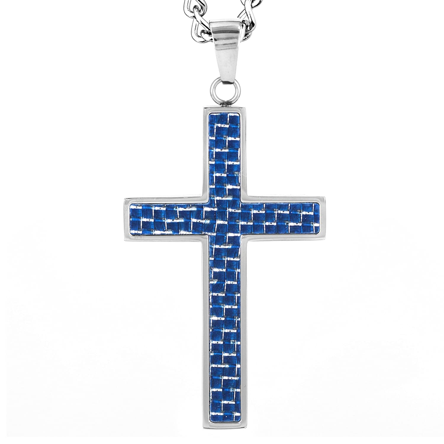 Crucible Stainless Steel Polished Blue Carbon Fiber Cross Pendant Necklace - 24""
