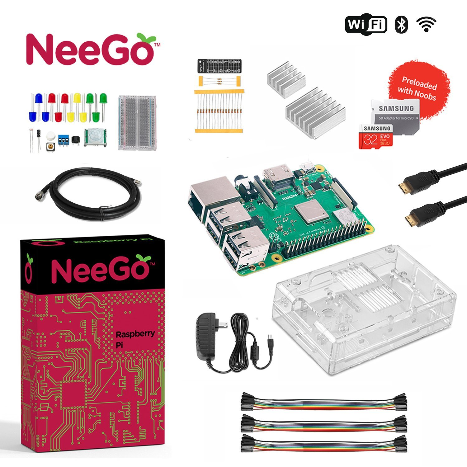 Neego Raspberry Pi 3 B+ (B Plus) Ultimate Education Starter Kit, B+ Motherboard, 32-GB Micro SD Card Preloaded With Noobs, 10-Piece Education Kit, Heatsinks, Clear Case, 2.5A Power Supply, HDMI Cable, by NeeGo