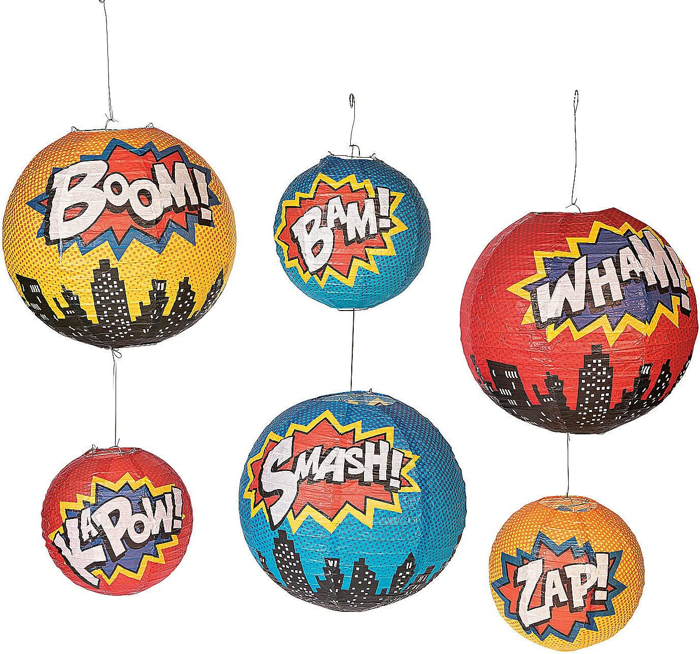 Superhero Hanging Paper Lanterns - 6 Pieces