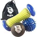 Massage Balls Set By Eagle Creations, Full Body | Foot Massage Roller, Spiky Massage Ball, Lacrosse Ball + Carry Bag. Body Massage, Reflexology, Before/After Workout, Stress Relief