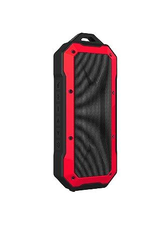 PRIXTON Altavoz portátil inalámbrico con Bluetooth, Entrada de Audio y Manos Libres, Rojo