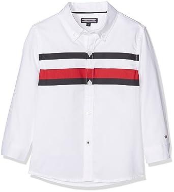 Tommy Hilfiger Boy s Printed Global Stripe Shirt L S (Bright White 122), d42ec4beb121