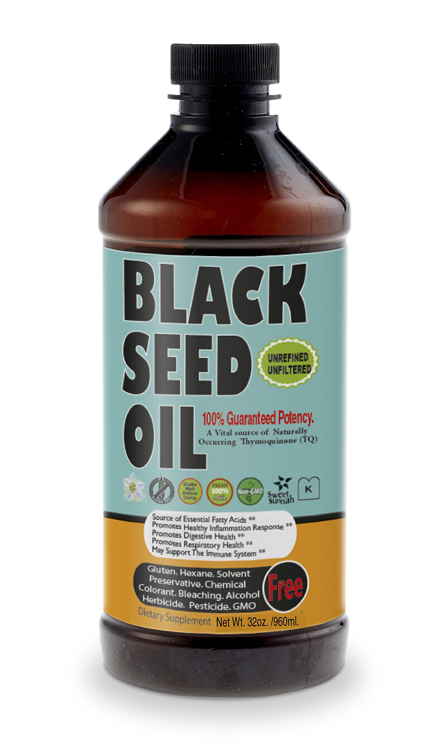 Sweet Sunnah Black Seed Oil Cold Pressed (First Pressing) 32 oz.-,Non GMO Unrefined & Unfiltered,No Preservatives & Artificial Color - Glass Bottle - Product of USA