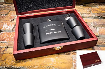 amazon com will you be my best man engraved wooden gift box flask