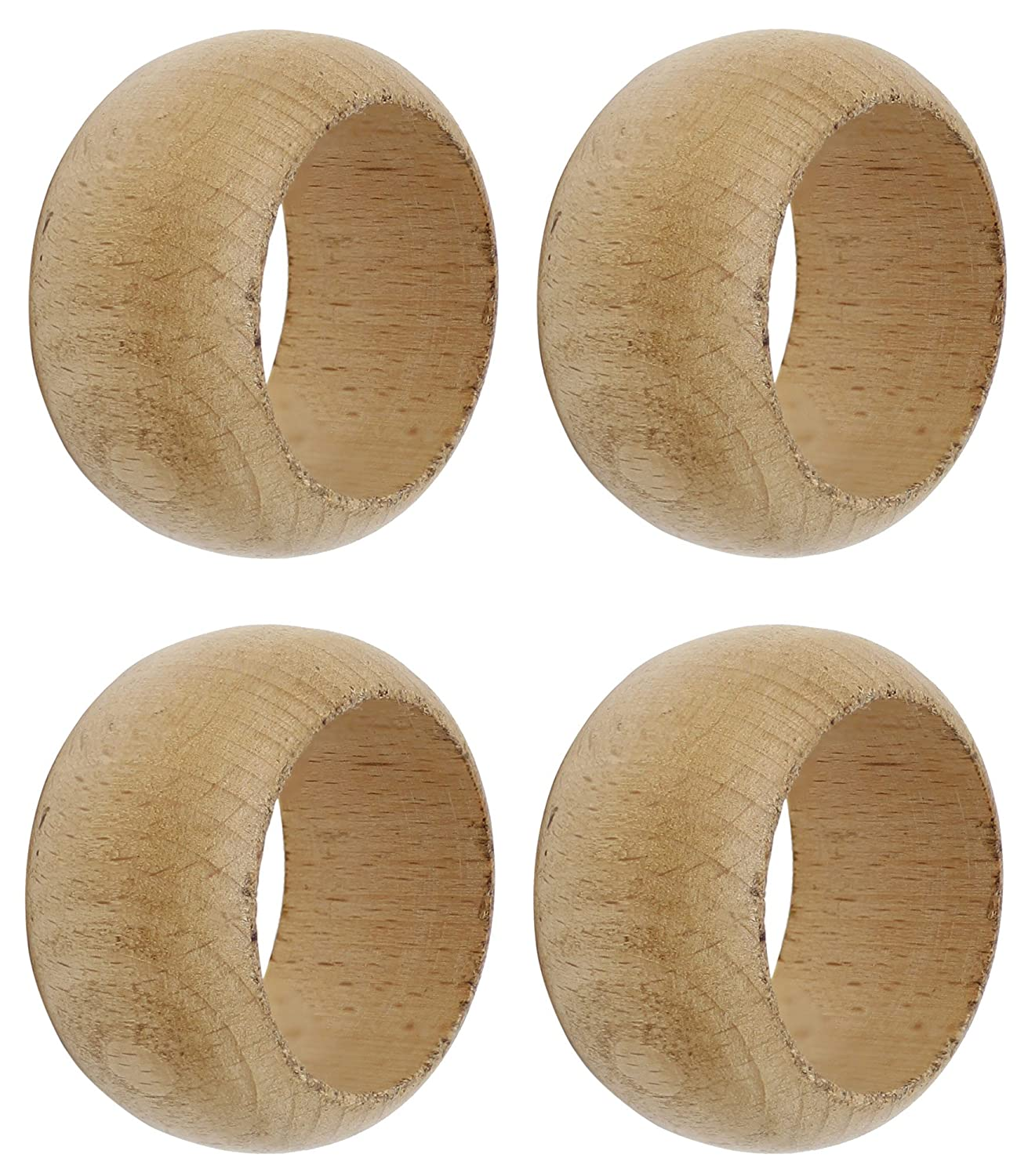SKAVIJ Wooden Napkin Rings for Weddings Dinners Parties or Everyday Use Natural Wood, Set of 4 M-SNR-017-4