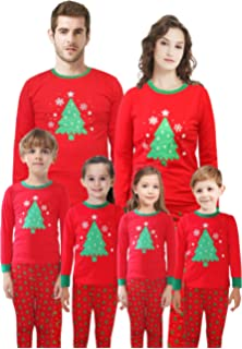 88f7555342 Matching Family Pajamas Christmas Tree Sleepwear Cotton Kids PJs Pants Set