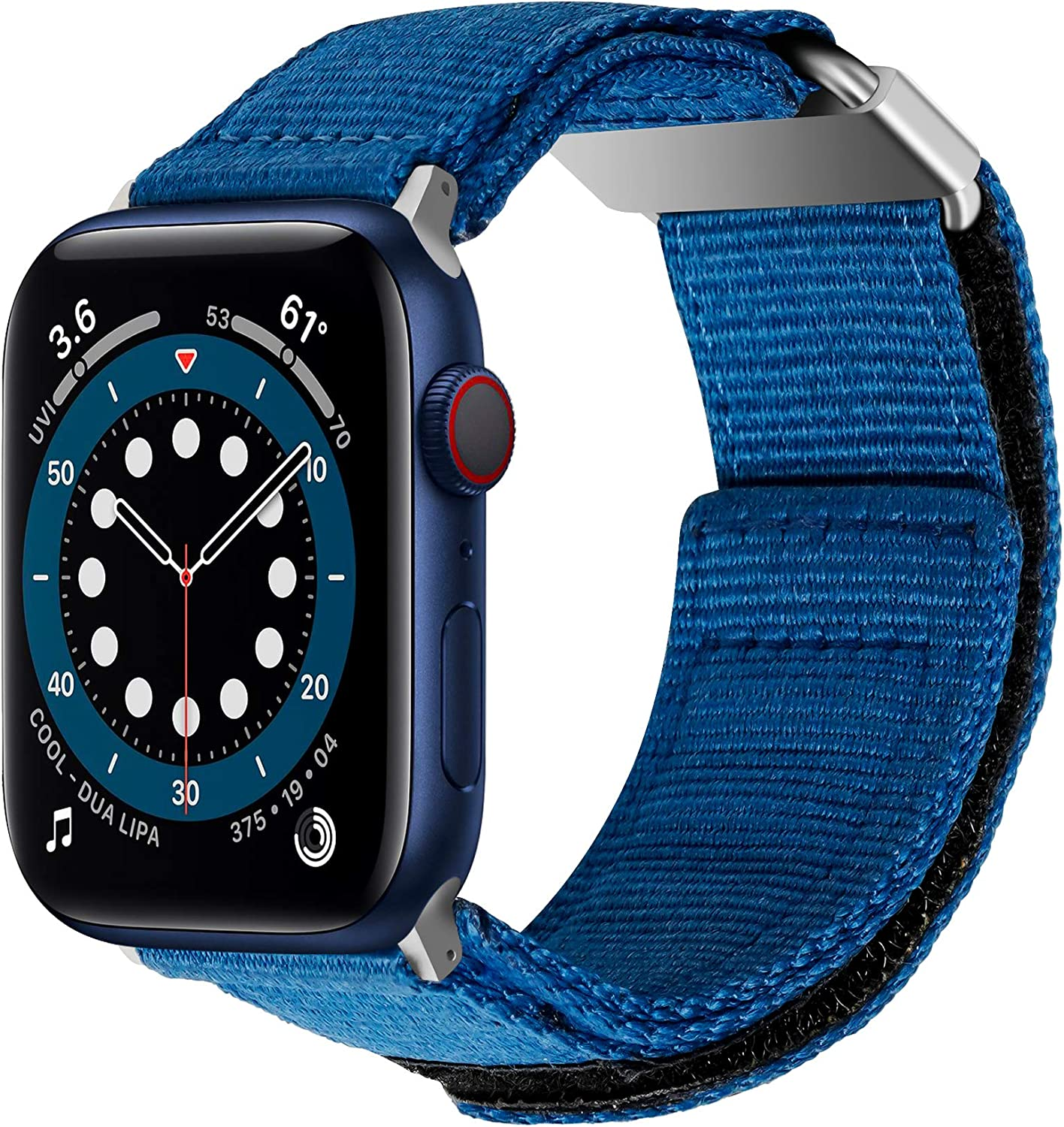 baozai Compatible with Apple Watch Band 44mm 42mm, iWatch Series 6/5/4/3/2/1 & Watch SE, Nylon Weave Loop Sport Strap with Metal Buckle for Men (Blue, 44mm/42mm)