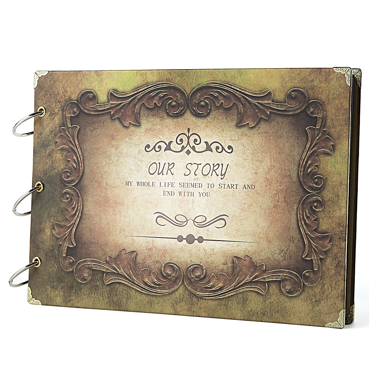 SICOHOME Scrapbook, Vintage Our Story Scrapbook Album for Wedding Guest Book