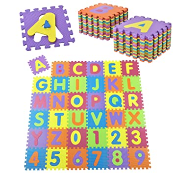 genug Juskys Kinder Puzzlematte 36 –Teilig aus Rutschfestem Eva OG85