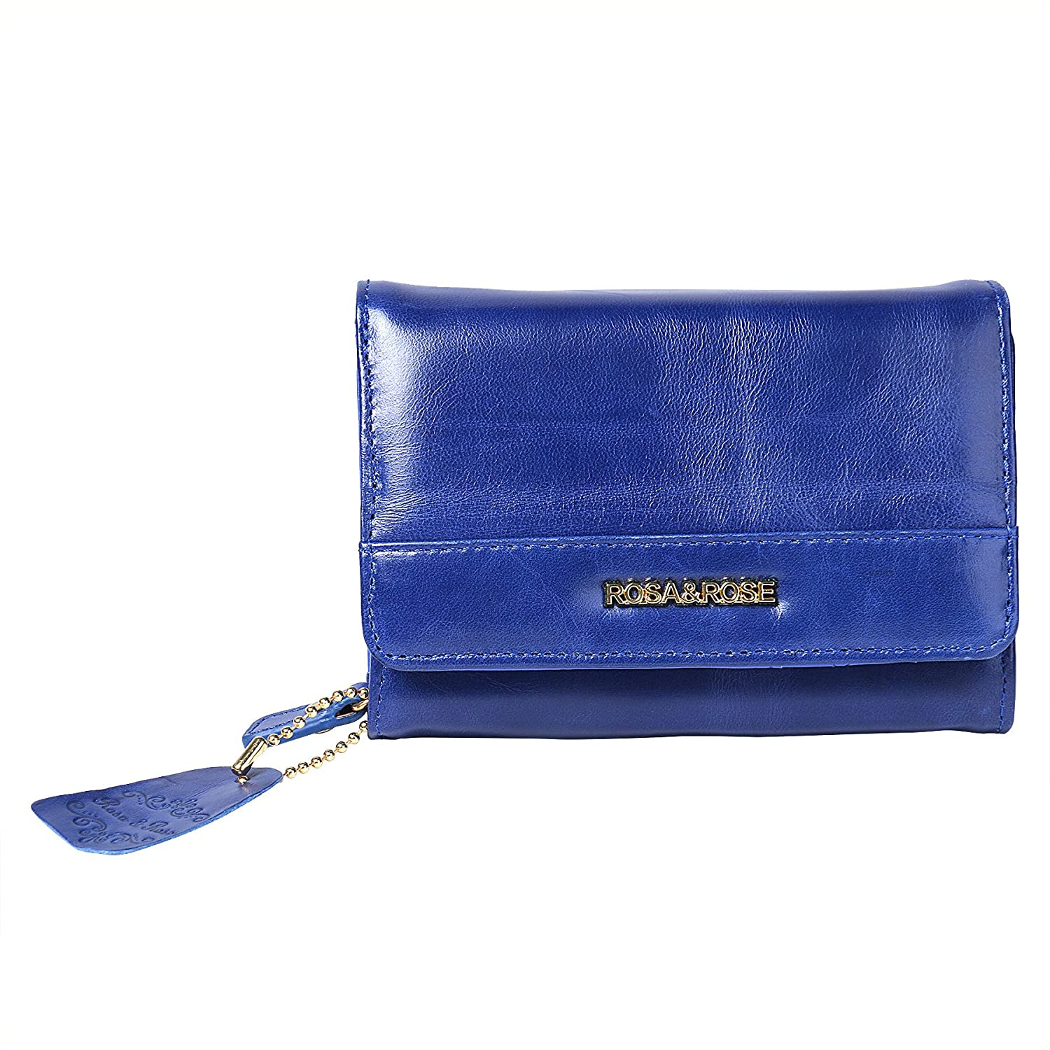 Leather Coin Purse Key Chain Credit Card Wallet Card Holder with ID Window Small Size RSR1809bl