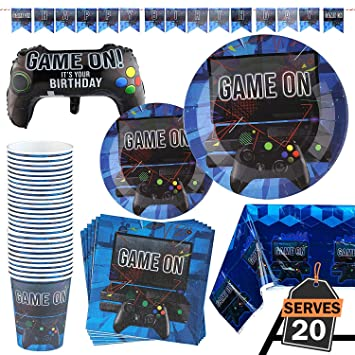 Kompanion 83 Piece Video Gaming Party Supplies Set Including Banner