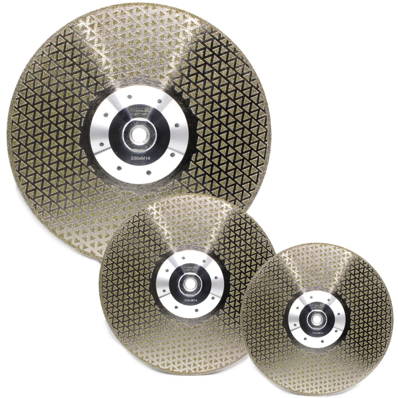 galvanizado, 125 mm de di/ámetro, con brida M14, para gres, granito, m/ármol, baldosas de cer/ámica, piedra natural, hormig/ón, etc. Disco de corte de diamante