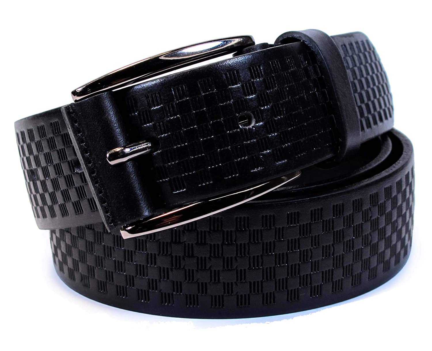 , Black 42 Waist 40, Total 49 Mens Real Genuine Leather Belt Black Brown White 1.25 Wide S-XL Casual Jeans CU0