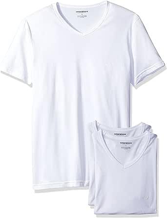 Emporio Armani Mens Men's Cotton V-Neck T-Shirt, 3-Pack Short-Sleeve Undershirt
