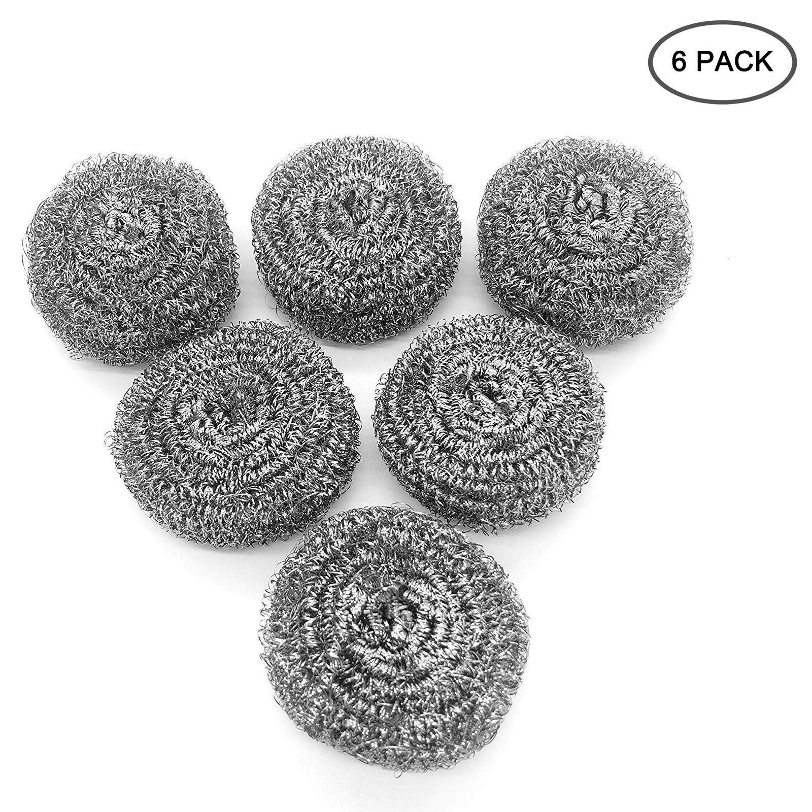 Stainless Steel Sponges, Scrubbing Scouring Scourer Pad, Steel Wool Scrubber Brush for Kitchens Washing Cleaning, Bathroom and More,6 Pack