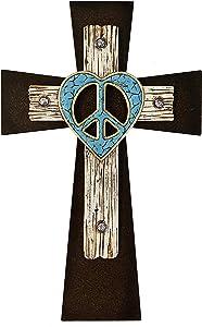 Peace Sign Heart Layered Wall Cross - Peace, Love and Jesus Wall Decor