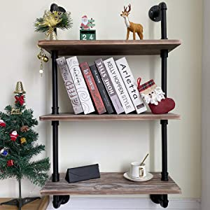 ROGMARS Industrial Pipe Shelving 3 -Tier, Industrial Pipe Shelves with Wood 24 Inch, Rustic Iron Pipe Shelves for Book, Industrial Wall Shelf for Bathroom (Brown Board)