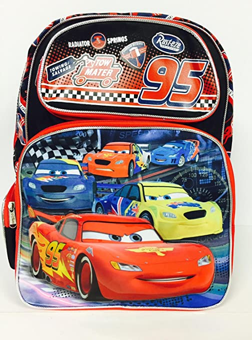 c6560305528 Image Unavailable. Image not available for. Color  Disney Cars Lightning  McQueen 16 quot  Large Backpack ...