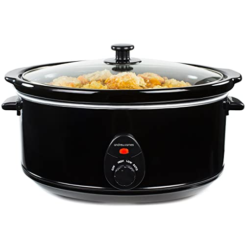 Andrew James Premium Black Slow Cooker Pot with 3 Heat Auto Setting - Tempered Glass Lid & 6.5 Litre Removable Ceramic Bowl - 320W