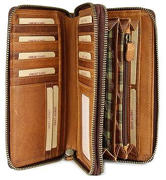 73c6659301fe2 Hill Burry hochwertige XXL Vintage Leder Damen Geldbörse Portemonnaie  langes Portmonee Geldbeutel Organizer aus weichem Leder