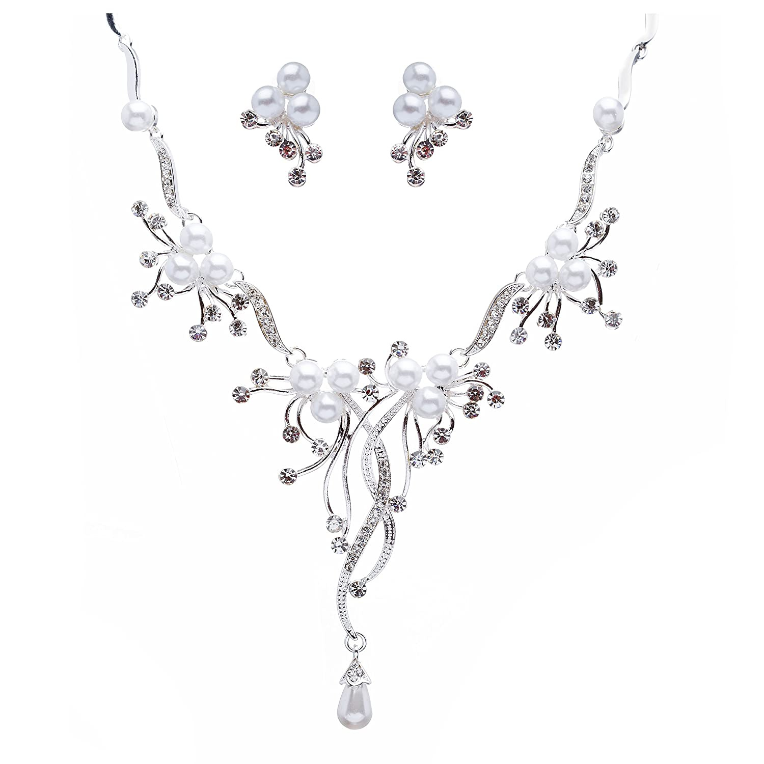 Fashion Jewelry Fine Bridal/ Prom/ Wedding/ Party Rhodium Plated Clear/ Black Austrian Crystal Flower Selected Material
