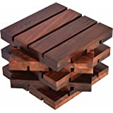 Hashcart Coasters In Sheesham Wood Indian Rosewood For Serving (Set Of 5) - 4X4 Inch