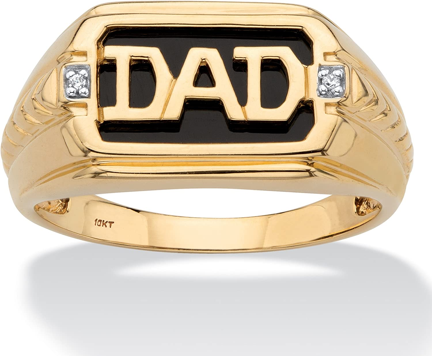 Men's 10K Yellow Gold Emerald Cut Natural Black Onyx and Diamond Accent Dad Ring